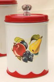 Kitchen Counter Canister Sets by Vintage Canister Set Tins W 1950s Retro Fruit Print Kitchen