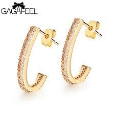 types of earrings for women gagafeel women earring stud earrings j type micro zircon gold