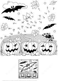halloween scene dot to dot free printable coloring pages