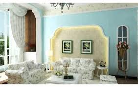 blue stain wall come with blue fabric cushion and round brown