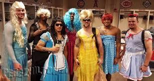 Cross Dressing Halloween Costume Lgbt Group Baseball U0027s Tradition Hazing Rookies Making