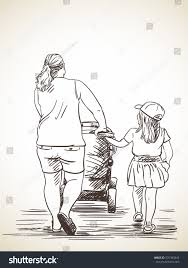 sketch woman her daughter going baby stock vector 531383845