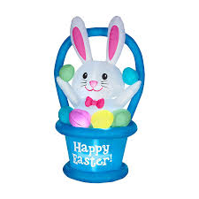 Easter Outdoor Decorations by Shop J Marcus Inflatable Easter Bunny In Basket Outdoor Easter