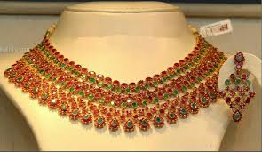 emerald ruby necklace images Jewellery designs emerald ruby necklace jewellery set png