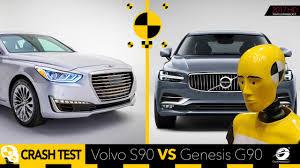 lexus ls vs genesis g90 2017 volvo s90 vs 2017 genesis g90 crash test youtube