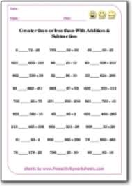 free printable activities for kids math worksheets greater than