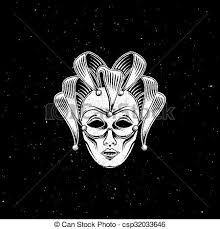 venetian jester mask vector illustration of engraving venetian carnival mask or eps