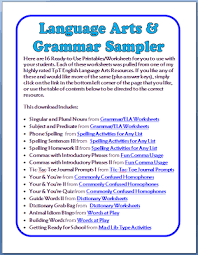 free grammar u0026 language arts worksheets 16 printable pages