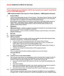 sow template sle statement of work 10 exle format