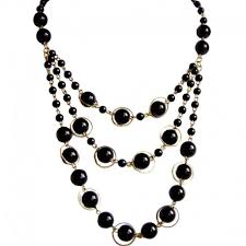 fashion black pearl necklace images Black faux fake pearl cascade multi layered necklace costume jewellery jpg