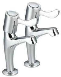 PAIR OF LEVER KITCHEN SINK PILLAR TAPS  TURN CERAMIC DISCS - Kitchen sink pillar taps