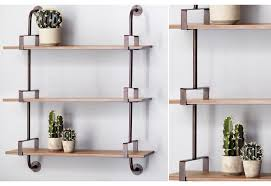 Wall Mounted Shelving Units by Planked Industrial Pipe Shelving Unit Wall Mounted Shelves
