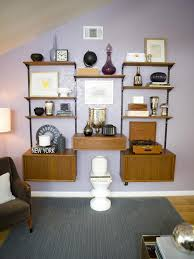 Hgtv Designer Portfolio Living Rooms - modular wall shelving mid century modern purple living room