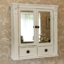 white wooden mirrored bathroom wall cabinet shabby vintage chic