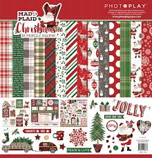 plaid christmas photo play paper mad 4 plaid christmas 12x12 collection pack