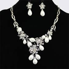 pearl necklace white images Sparkling rhinestone big white pearl necklaces and earring set jpg