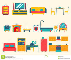 House Flat Design House Interior Furniture Icons Stock Vector Image 40974628
