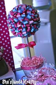 How To Make Ribbon Topiary Centerpieces by Ladybug Themed Baby Shower Ribbon Topiary In Ladybug Themered