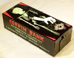retro tv bank super vintage tin toy yone japan c1960s clockwork coffin bank