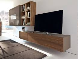 brown plywood veneer wall mounted tv cabinet attached on white