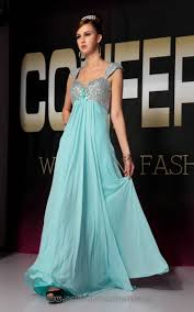 flowers straps beading sequin trimmed light blue chiffon prom
