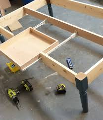 add a drawer under a table ana white turned leg coffee table with apron drawer diy projects