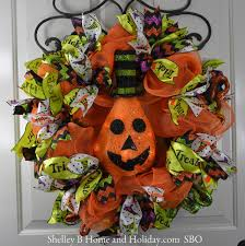 Halloween Deco Mesh Wreath Halloween Wreath W Lighted Jack O Lantern Pumpkin Sbo Design