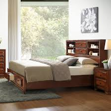 Bowery Queen Storage Bed by Amazon Com Roundhill Furniture Asger Antique Oak Finish Wood