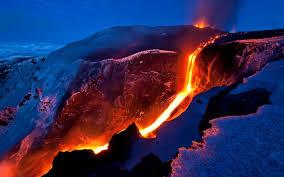 snow lava eruption magma temp mountain slope volcano night channel
