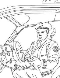 police man reporting head quarter police car coloring