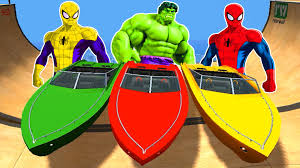 spiderman u0026 hulk colors epic boat party nursery rhymes animated