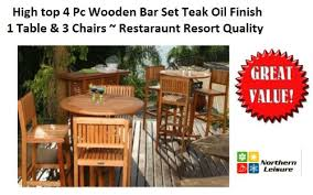 High Top Patio Furniture by Amazon Com 4 Pc Outdoor Patio Bar Set High Top Table Chairs Teak