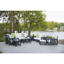 Plastic Lawn Chairs Home Depot Polywood Mission Black 8 Piece Plastic Patio Deep Seating Set With