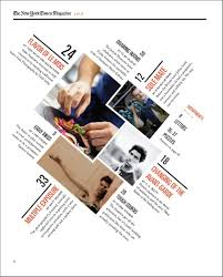 a redesigned new york times magazine table of contents made as a