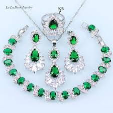 zircon necklace set images L b 925 silver color green created emerald white zircon jewelry jpg