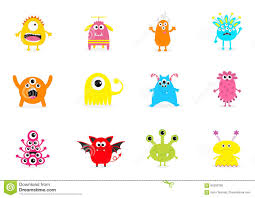 cute happy halloween background monster big set cute cartoon scary character different emotion