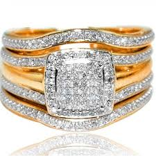 square set rings images Wedding ring set 3 piece 0 33ct w square halo engagement ring and jpg