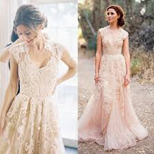 pink lace wedding dress reem acra vintage blush pink dusty appliqued lace country
