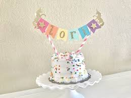 unicorn cake topper rainbow unicorn cake topper with gold glitter 1st birthday