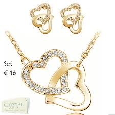 white rose necklace images Fabjewels4less gorgeous heart set in white rose yellow gold png