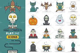 spooky symbols cute flat halloween characters vol 1 illustrations creative market