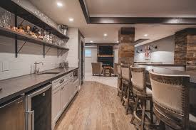 basement wet bar home bar rustic with wood stools recessed