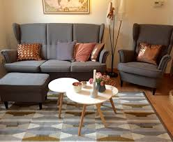 Mid Century Modern Living Room by Mid Century Modern Living Room With Ikea Strandmon Sofa And Copper