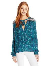 paisley blouse billabong junior s birds on high printed paisley blouse at amazon