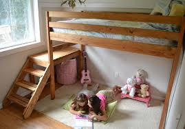 Twin Loft Bed Plans by Ana White Camp Loft Bed With Stair Junior Height Diy Projects