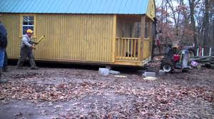 Derksen Portable Finished Cabins At Enterprise Center Youtube Leveling The Cabin Youtube