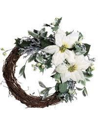 white poinsettia amazing deal on grapevine white poinsettia artificial wreath new snow