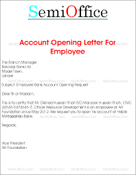 bank account opening letter for company employee