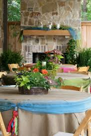 backyard mediterranean themed dinner party table decor for