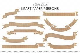 paper ribbons kraft paper ribbons banners clip illustrations creative market